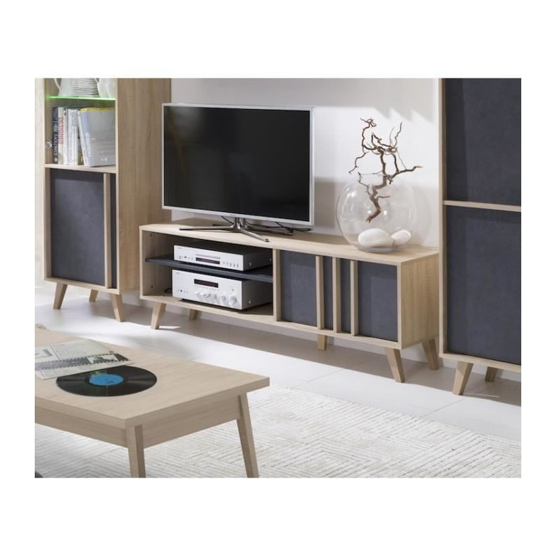 Meuble tv d co scandinave malmo coloris gris b ton sonoma 129 00 for Meuble tv deco