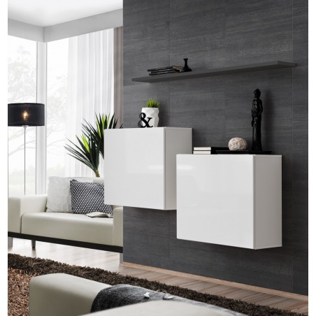 Ensemble meubles de salon SWITCH SBI design, coloris blanc brillant et étagère grise.