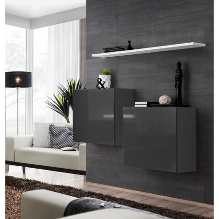 Ensemble meubles de salon SWITCH SBI design, coloris gris brillant et étagère blanche.
