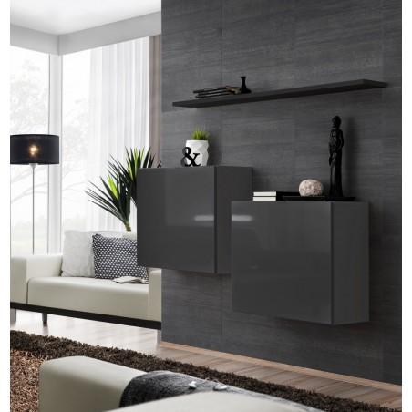 Ensemble meubles de salon SWITCH SBI design, coloris gris brillant et étagère noire..