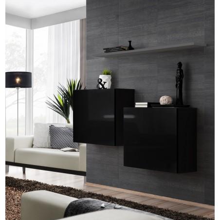 Ensemble meubles de salon SWITCH SBI design, coloris noir brillant et étagère grise.