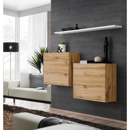 Ensemble meubles de salon SWITCH SBI design, coloris chêne Wotan et étagère blanche.