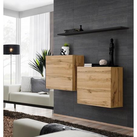 Ensemble meubles de salon SWITCH SBI design, coloris chêne Wotan et étagère noire.
