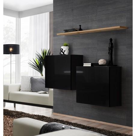 Ensemble meubles de salon SWITCH SBI design, coloris noir brillant et étagère chêne Wotan.