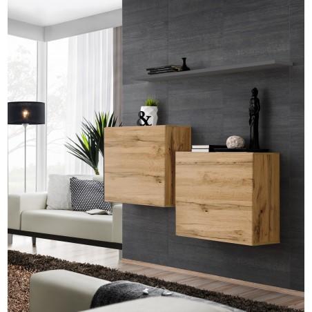 Ensemble meubles de salon SWITCH SBI design, coloris chêne Wotan et étagère grise.