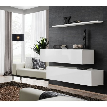Ensemble meubles de salon SWITCH SBII design, coloris blanc brillant.