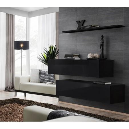Ensemble meubles de salon SWITCH SBII design, coloris noir brillant.