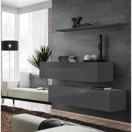 Ensemble meubles de salon SWITCH SBII design, coloris gris brillant.