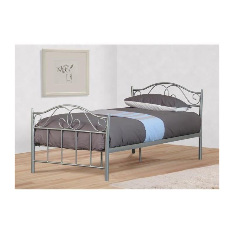 lit enfant en m tal gris alexandra 90x190 cm sommier accueil. Black Bedroom Furniture Sets. Home Design Ideas