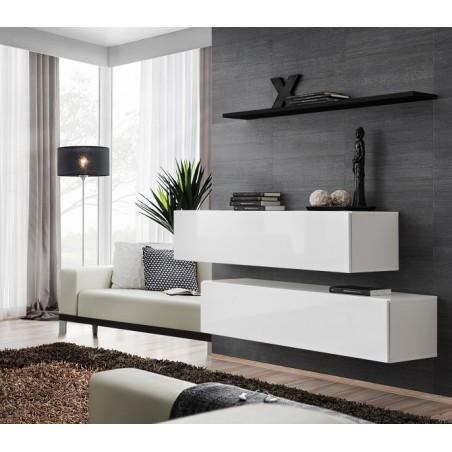 Ensemble meubles de salon SWITCH SBII design, coloris blanc brillant et étagère noire.
