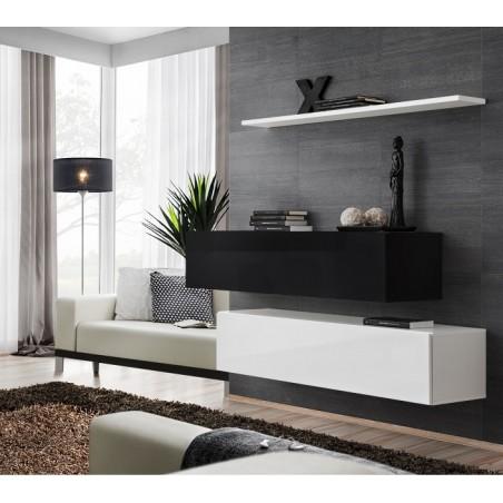 Ensemble meubles de salon SWITCH SBII design, coloris blanc et noir brillant.