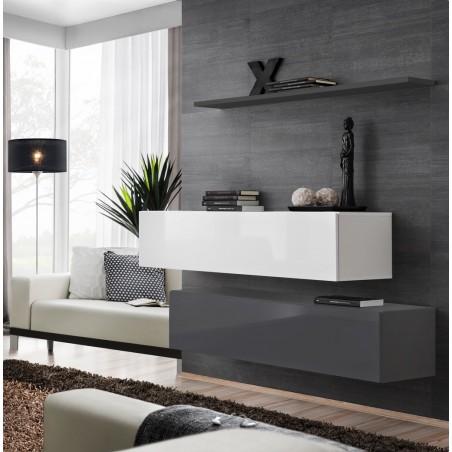 Ensemble meubles de salon SWITCH SBII design, coloris gris et blanc brillant.