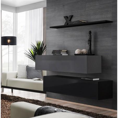 Ensemble meubles de salon SWITCH SBII design, coloris noir et gris brillant.