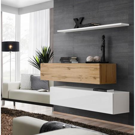 Ensemble meubles de salon SWITCH SBII design, coloris blanc brillant et chêne Wotan.