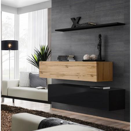 Ensemble meubles de salon SWITCH SBII design, coloris noir brillant et chêne Wotan.