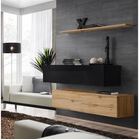 Ensemble meubles de salon SWITCH SBII design, coloris chêne Wotan et noir brillant.