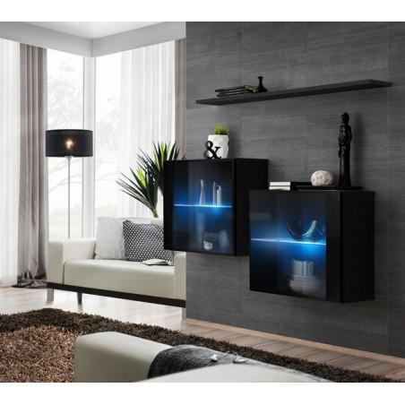Ensemble meubles de salon SWITCH SBIII design, coloris noir brillant et porte vitrée avec système LED intégré.