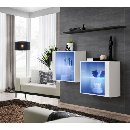 Ensemble meubles de salon SWITCH SBIII design, coloris blanc brillant et porte vitrée avec système LED intégré, étagère noire.