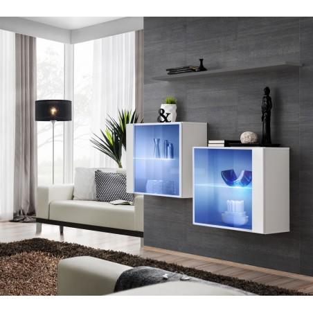 Ensemble meubles de salon SWITCH SBIII design, coloris blanc brillant et porte vitrée avec système LED intégré, étagère grise.