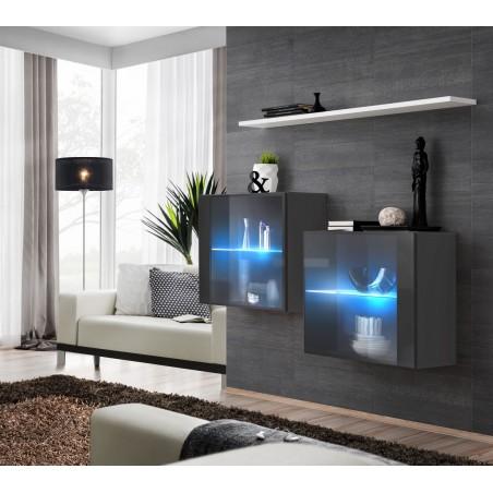 Ensemble meubles de salon SWITCH SBIII design, coloris gris brillant et porte vitrée avec système LED intégré, étagère blanche.