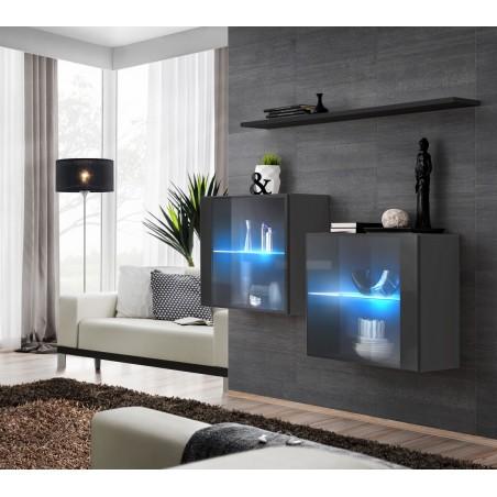 Ensemble meubles de salon SWITCH SBIII design, coloris gris brillant et porte vitrée avec système LED intégré, étagère noire.