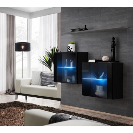 Ensemble meubles de salon SWITCH SBIII design, coloris noir brillant et porte vitrée avec système LED intégré, étagère grise.