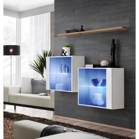 Ensemble meubles de salon SWITCH SBIII, coloris blanc brillant et porte vitrée avec système LED intégré, étagère chêne Wotan.