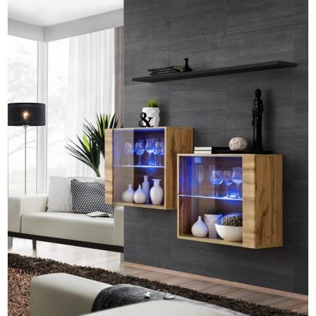 Ensemble meubles de salon SWITCH SBIII, coloris chêne Wotan et porte vitrée avec système LED intégré, étagère noire.