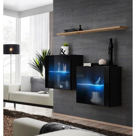 Ensemble meubles de salon SWITCH SBIII, coloris noir brillant et porte vitrée avec système LED intégré, étagère chêne Wotan.