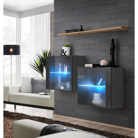 Ensemble meubles de salon SWITCH SBII, coloris gris brillant et porte vitrée avec système LED intégré, étagère chêne Wotan.