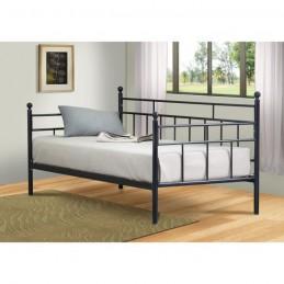 Lit en métal noir PAULINE + sommier 90x200 cm. Meuble pour chambre à coucher enfant.