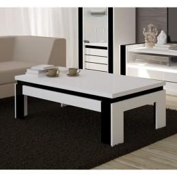 SALON Ensemble meuble de salon LINA blanc et noir laqué.