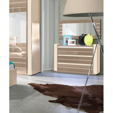 Commode pour chambre à coucher LINA + LED. Coloris : cappuccino et blanc crème. OFFRE LIMITEE