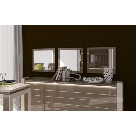 Lot de 3 miroirs LINA. Coloris cappuccino et blanc crème. Produit déco pour votre salon ou salle à manger. OFFRE LIMITEE.