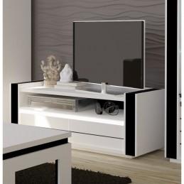 Ensemble meuble de salon LINA blanc et noir laqué.