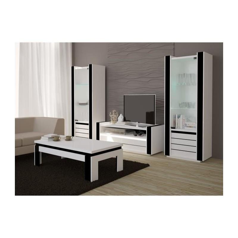ENSEMBLE COMPLET Ensemble meuble de salon LINA blanc et noir laqué.