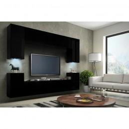 Meuble de salon, meuble TV complet suspendu CONCEPT corps noir mat, façades noires mat + LED.