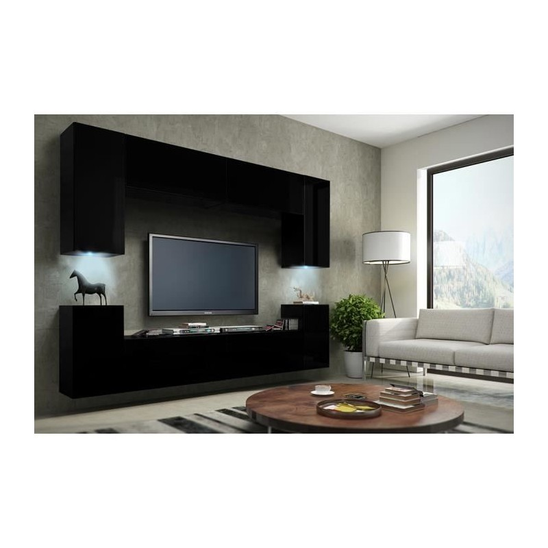 meuble de salon meuble tv complet suspendu concept corps noir mat. Black Bedroom Furniture Sets. Home Design Ideas