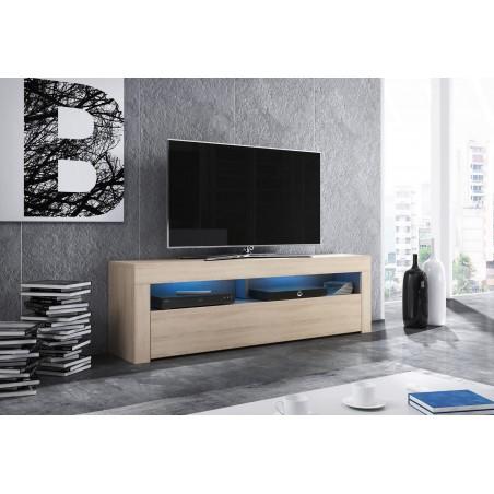 Meuble TV design MEXICO 160 cm, 1 porte et 1 niche, coloris chêne Sonoma+ LED