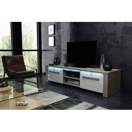 Meuble TV design MANHATTAN XL, 160 cm à 2 portes et 2 niches coloris Sonoma et blanc brillant + led
