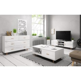 Ensemble EDEN pour votre salon. Meuble TV + Table basse + Commode. Coloris blanc.