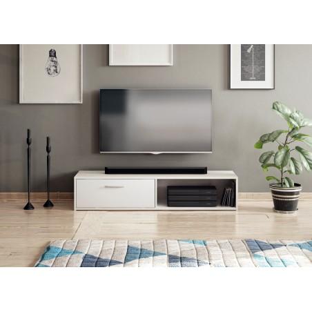 Meuble TV design LEON II XXL, 2 mètres, 2 portes et 4 niches, coloris blanc brillant.