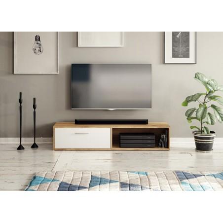 Meuble TV design SIMPLY, 1 porte et 1 niche, coloris chêne Sonoma et blanc.