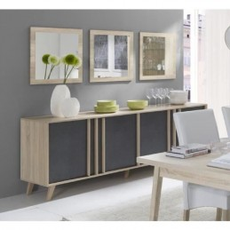 Buffet, enfilade, bahut GM MALMO + 3 miroirs. Meuble design type SCANDINAVE.