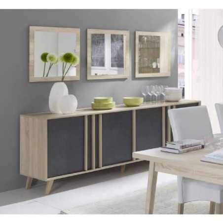 Buffet grand modèle et 3 miroirs couleur chêne clair et gris béton. Collection MALMO