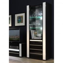 SALON Ensemble meuble de salon LINA blanc et noir laqué