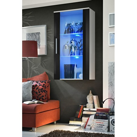 "Vitrine LED Murale Design ""Neo II"" 110cm blanc et noir brillant avec système LED."