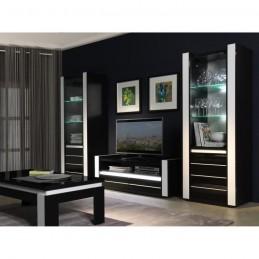 Ensemble meuble de salon LINA blanc et noir laqué
