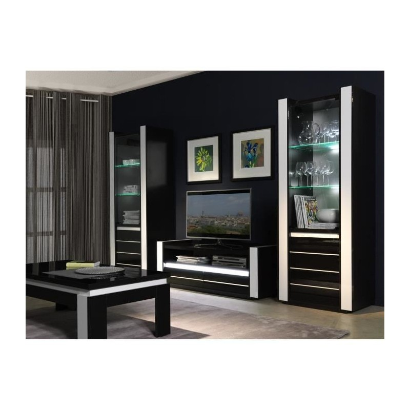 Salon ensemble meuble de salon lina blanc et noir laqu for Meuble de salon noir