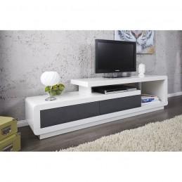 Meuble TV de la collection MARVIN coloris blanc/gris laqué
